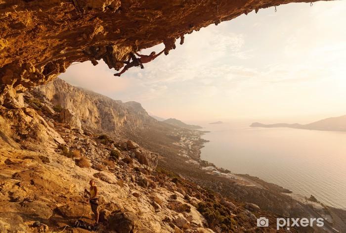 Pixerstick Dekor Rock klättrare vid solnedgången. Kalymnos Island, Grekland. - Teman