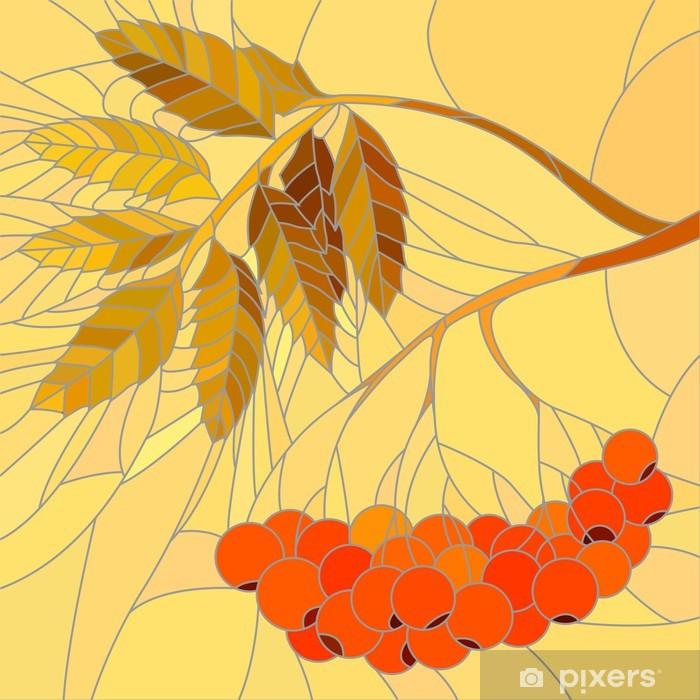 Plakat Ilustracja mozaiki wektora gałęzi jarzębiny. - Pory roku
