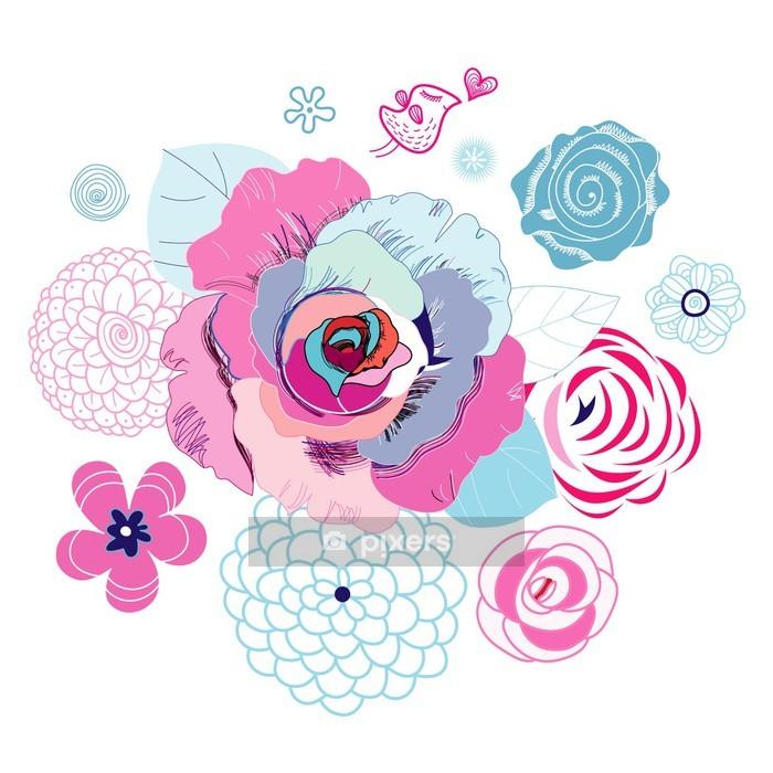 Sticker mural Fond floral avec des oiseaux d'amour - Sticker mural