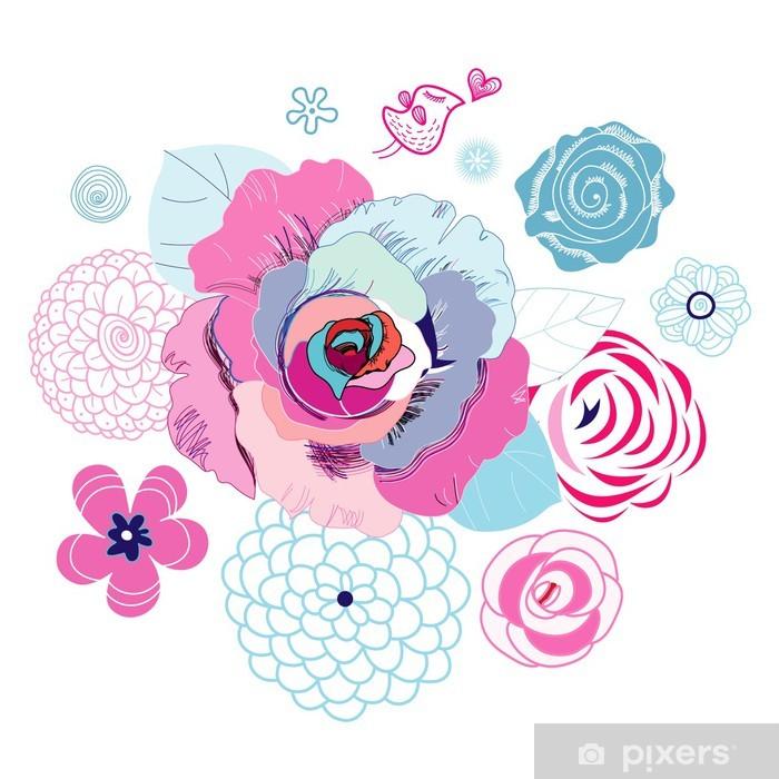 Poster Fond floral avec des oiseaux d'amour - Sticker mural