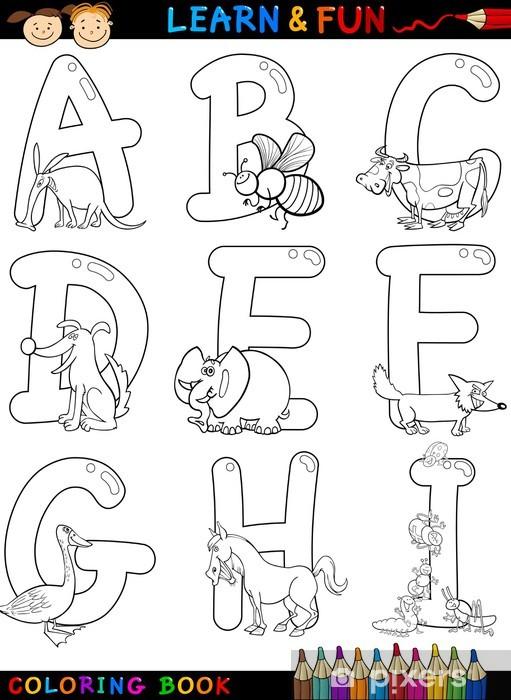 Boyama Hayvanlar Ile Karikatur Alfabe Cikartmasi Pixerstick
