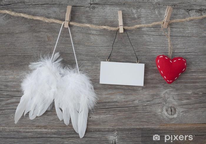 Fototapeta winylowa Angel Wings z serca i uwaga puste - Święta międzynarodowe