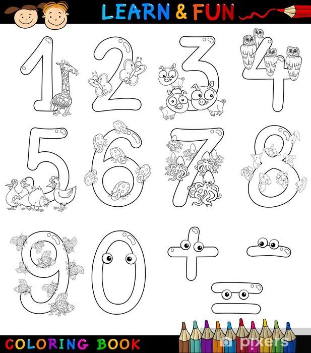 Vinilo Números Con Animales De Dibujos Animados Para Colorear Pixerstick