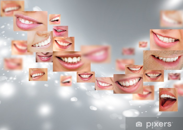 Faces of smiling people in set. Healthy teeth. Smile Vinyl Wall Mural - Themes