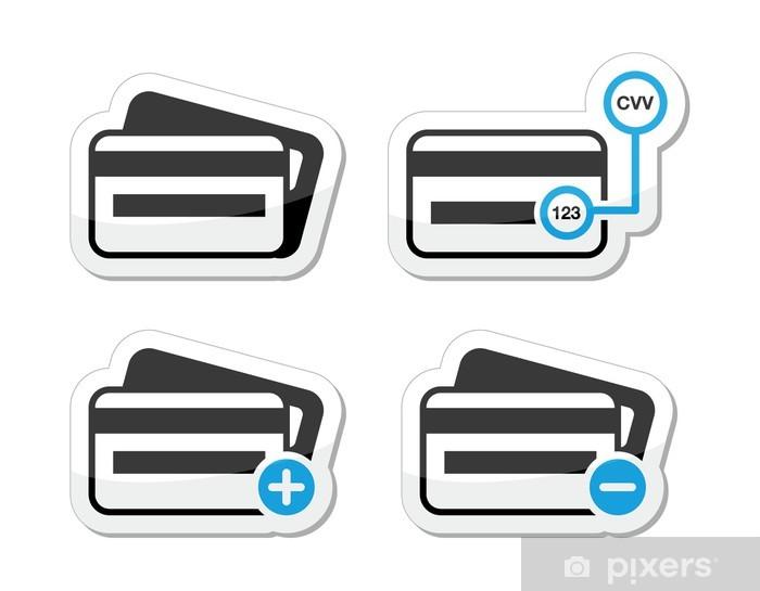 ce99f6f9 Pixerstick-klistremerke Kredittkort, CVV kode ikoner som etikett sett - Tegn  og Symboler
