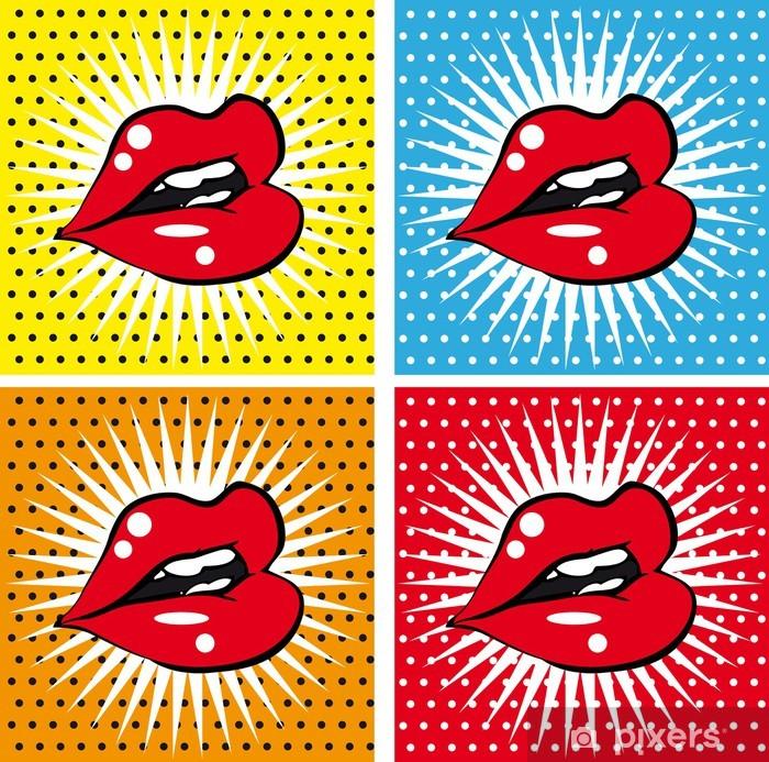 Carta da Parati in Vinile Aprire bagnato sexy labbra rosse con i denti pop art set sfondi - Temi