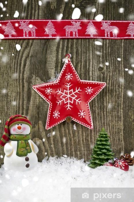 Foto Con La Neve Di Natale.Carta Da Parati Stella Di Natale In Lamiera Sulla Parete Di Legno Con La Neve Pixers Viviamo Per Il Cambiamento