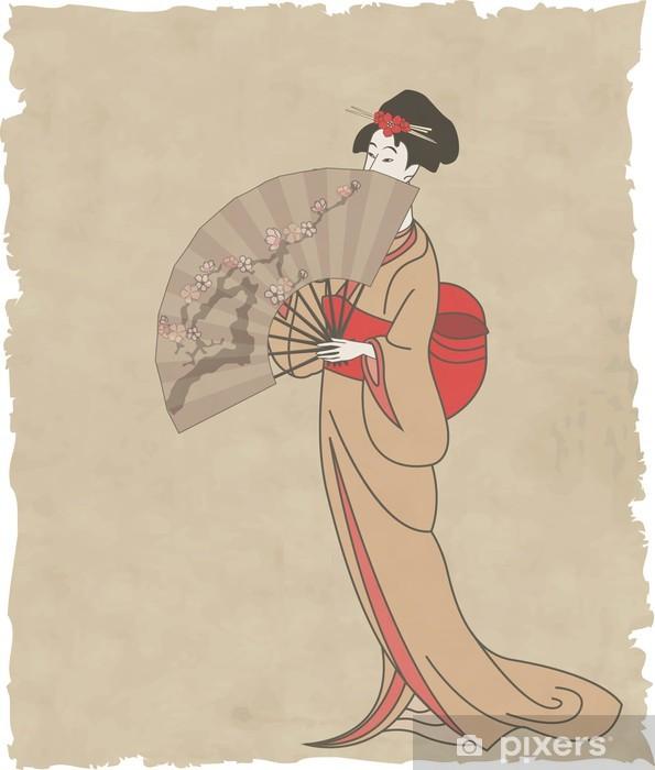Naklejka Pixerstick Japonka z wachlarzem na starym papierze - Azja