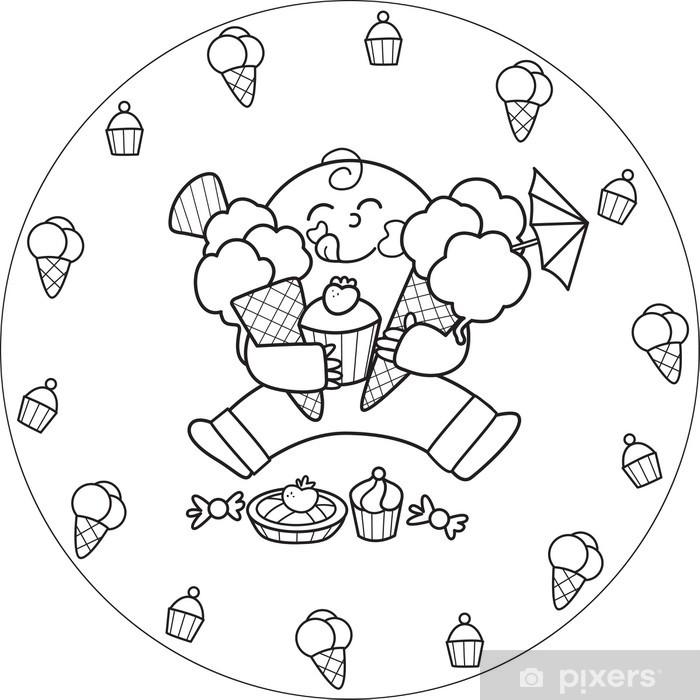 Poster Coloriage Garcon Mangeant Une Creme Glacee Et De Toutes Sortes De Bonbons Pixers Nous Vivons Pour Changer