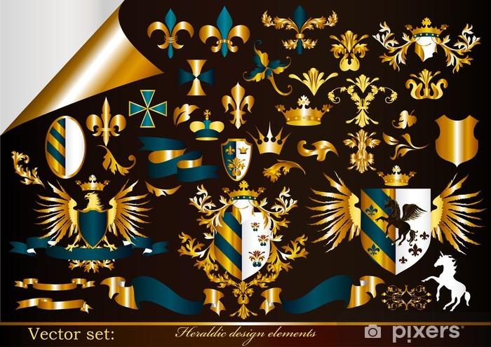 Sticker Pixerstick Collecte des éléments héraldiques or encadrées - Signes et symboles