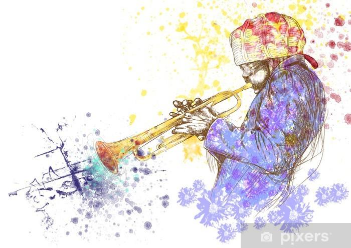 Vinyl Fotobehang Trompettist, hand tekening, dit is originele schets - jazz