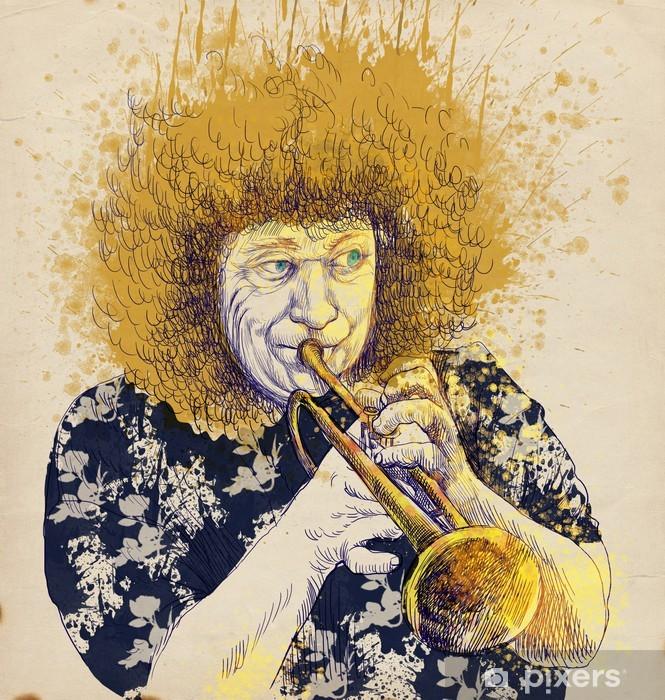 trumpeter, hand drawing, this is original sketch Pixerstick Sticker - Jazz