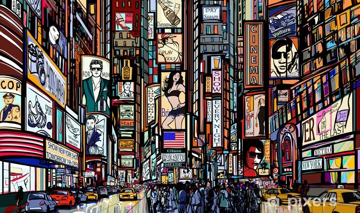 street in New York city Pixerstick Sticker - Art & lifestyle