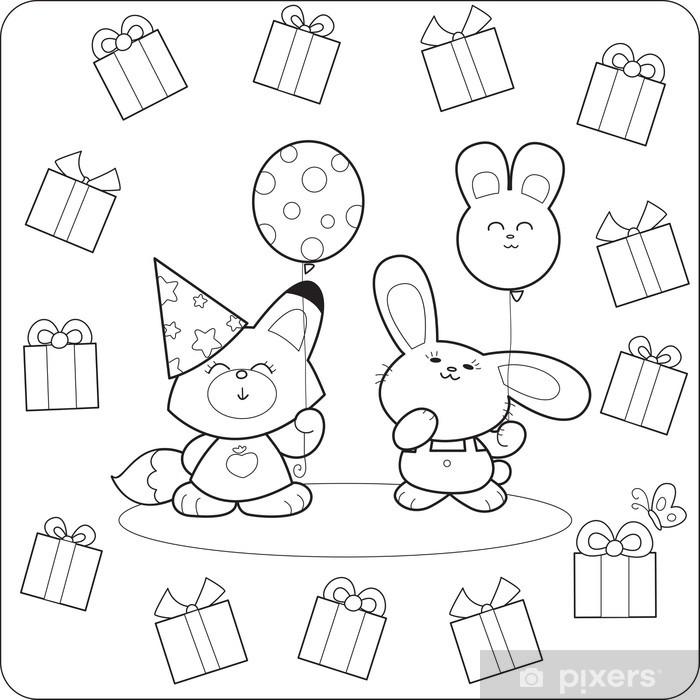 Fotomural Fiesta de cumpleaños para colorear con globos y regalos ...