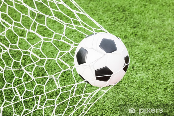 Fototapet Fotboll i målet nätet • Pixers® - Vi lever för förändring 043645f27e1a3