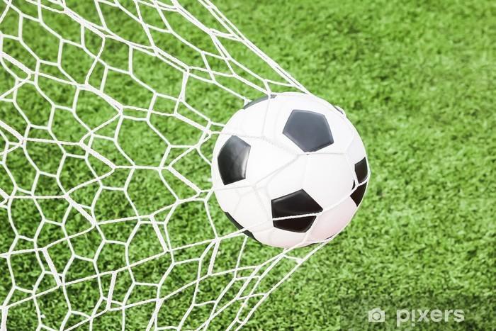 Fototapeta zmywalna Piłka nożna w cel netto - Sporty drużynowe