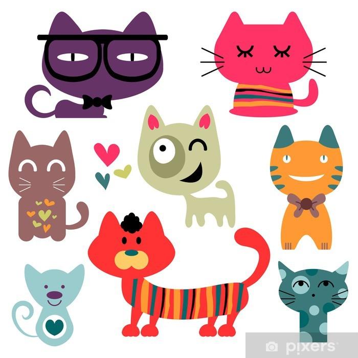 Naklejka Pixerstick Ustawić różne śmieszne koty -