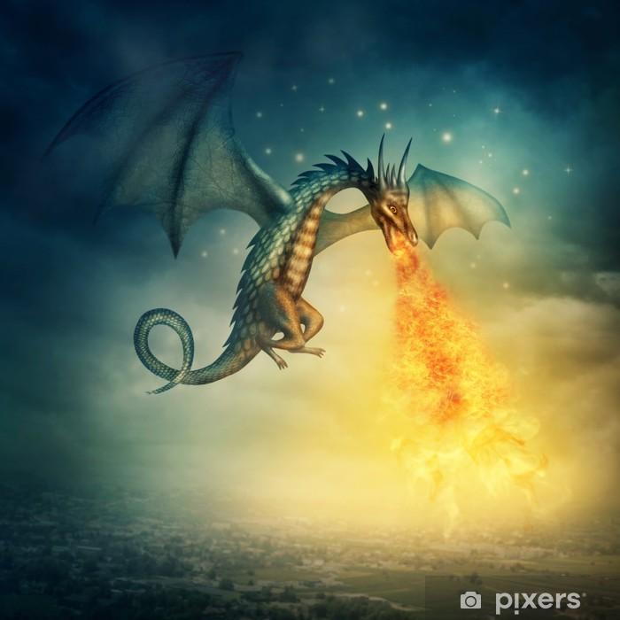 Papier peint vinyle Dragon -