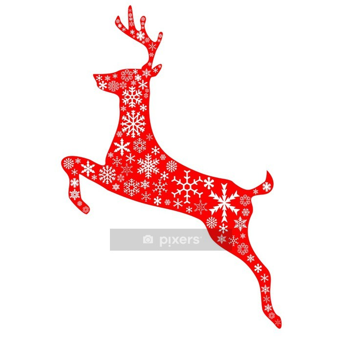 christmas reindeer in red Wall Decal - Christmas