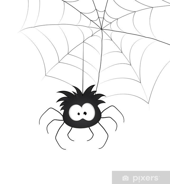 Vinilo para Nevera Divertido Araña y Web -
