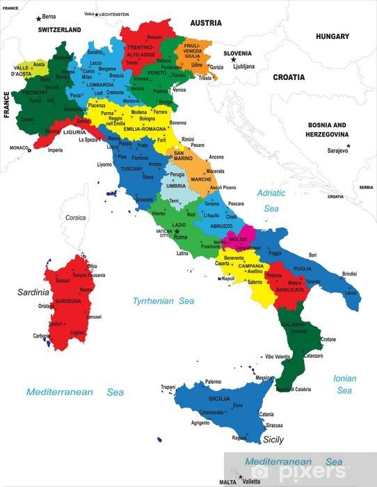 Sticker Pixerstick La carte politique de l'Italie - Thèmes