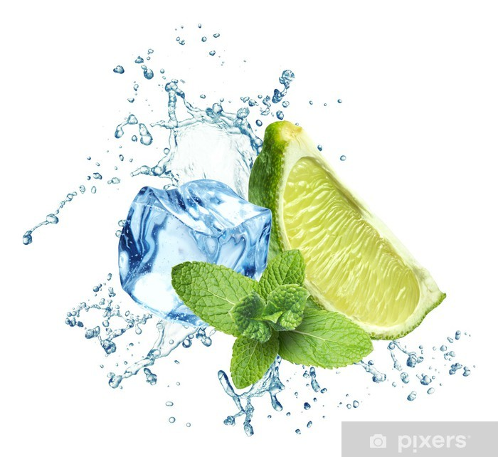 Ice cubes, mint leaves, water splash and lime on a white Poster - Wall decals