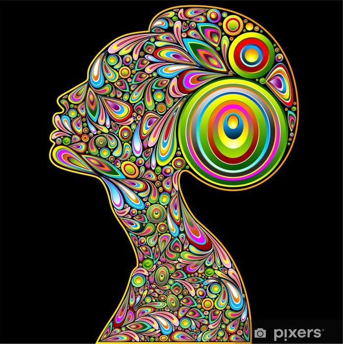 Sticker Pixerstick Femme Psichedelic Design-Portrait de femme Portrait Psychédélique - Styles