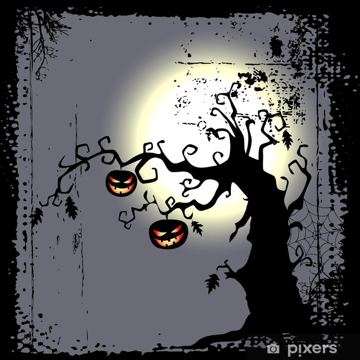 Sticker Pixerstick Halloween background - deux citrouilles sont suspendus sur l'arbre - Fêtes internationales