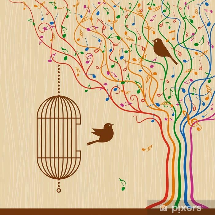 Vinyl Fotobehang Birdcage On The Musical Tree - Tekens en Symbolen