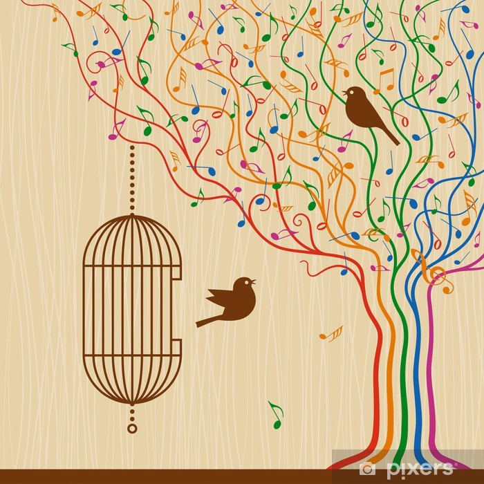 Birdcage On The Musical Tree Vinyl Wall Mural - Signs and Symbols