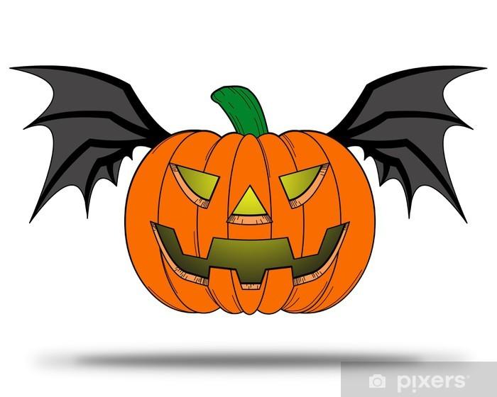 Adesivo Pixerstick Zucca di Halloween con ali di pipistrello. - Feste  Internazionali 049da68c5dcb