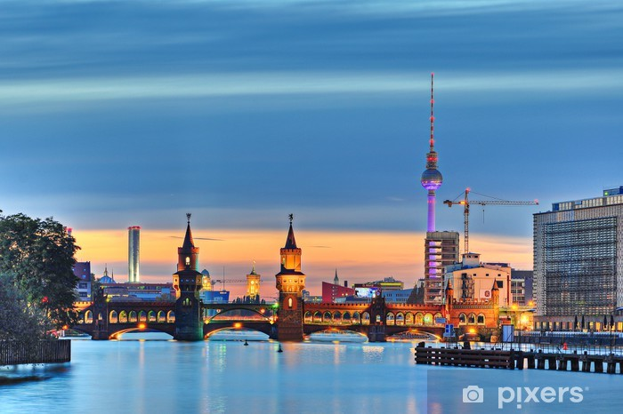 Naklejka Pixerstick Berlin Wieża telewizyjna Oberbaumbrücke - Berlin
