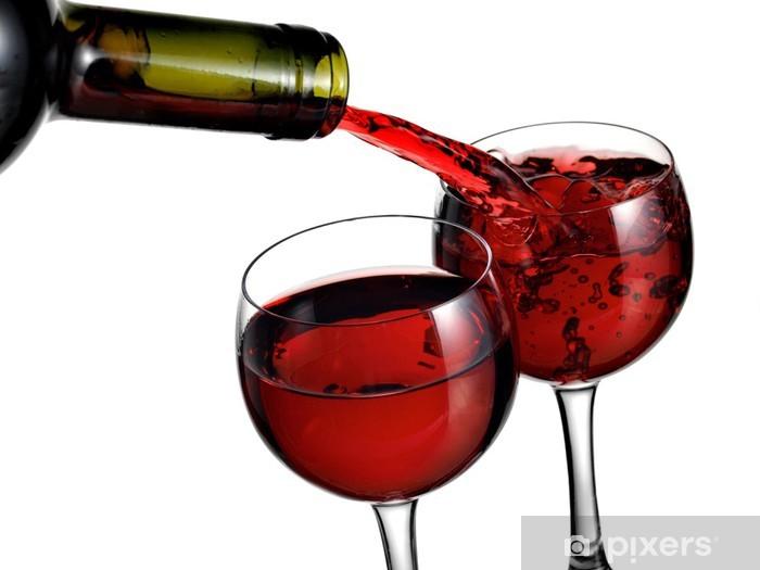 Papier peint vinyle Verser le vin rouge dans deux verres - Thèmes