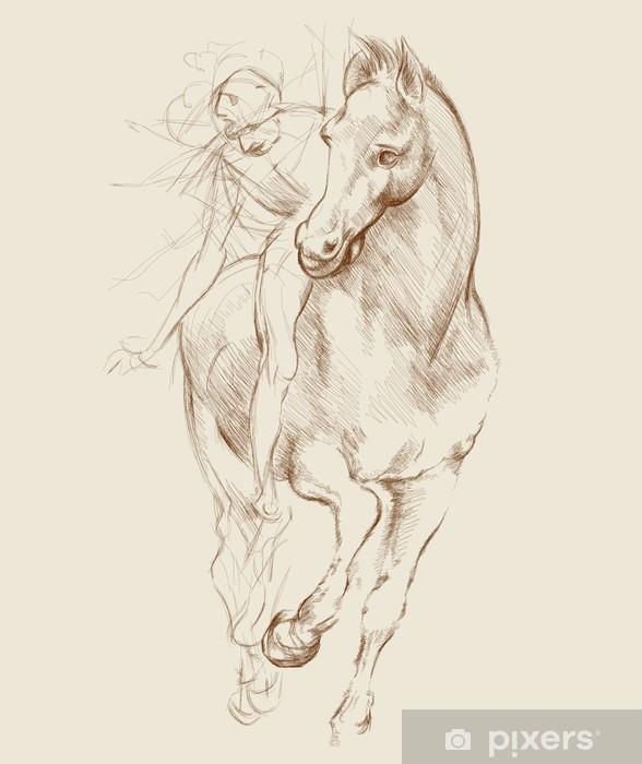 Horse and Rider. Based on drawing of Leonardo da Vinci Pixerstick Sticker - Themes