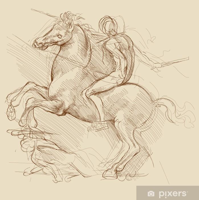 Vinyl Fotobehang Paard en ruiter. Gebaseerd op tekening van Leonardo da Vinci - Thema's