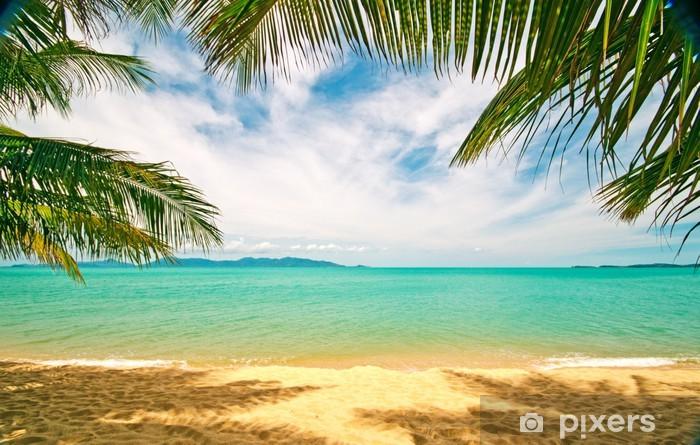 Naklejka Pixerstick Tropikalna plaża: Chaweng Beach na wyspie Koh Samui - Palmy