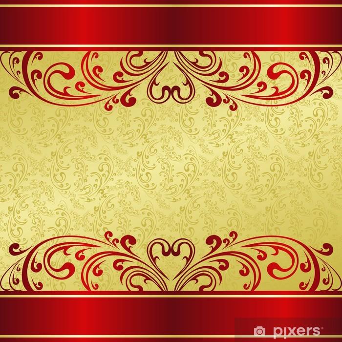 Papier Peint Luxe Fond Décoré Dun Ornement Vintage Or Et Rouge
