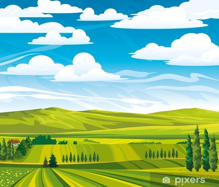Poster Paysage d'été avec de vertes prairies - Saisons