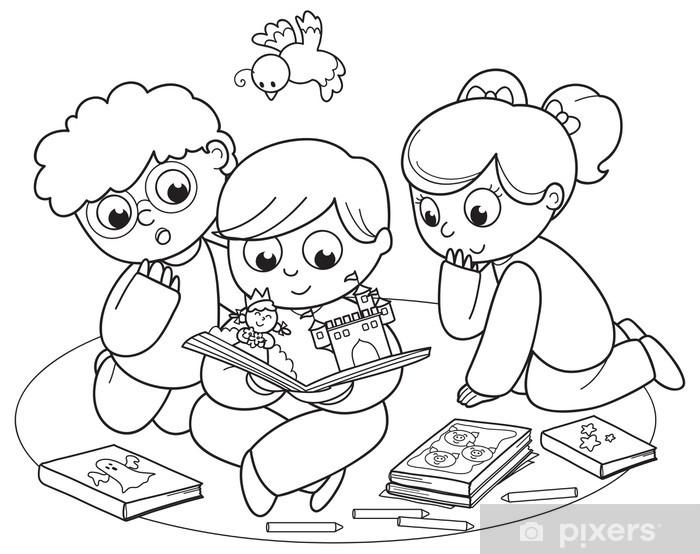 fotobehang kleurplaat illustratie vrienden samen lezen