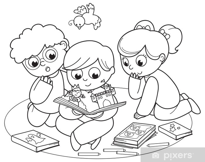 Coloring Illustration Of Friends Reading A Pop Up Book Together