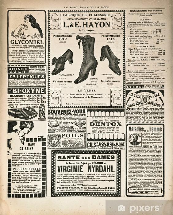 newspaper page with antique advertisement Pixerstick Sticker - Styles