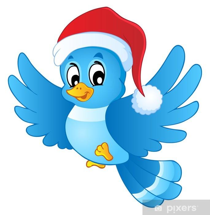 Pixerstick Aufkleber Blauer Vogel in Weihnachtsmütze - Internationale Feste