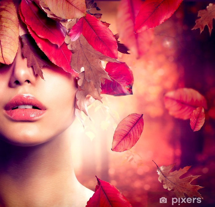 Poster Autumn Woman Fashion Portrait. Fallen - Themen