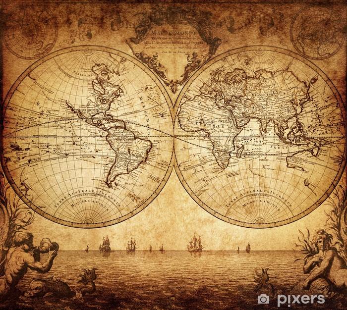 Pixerstick Sticker Vintage kaart van de wereld 1733 - Thema's