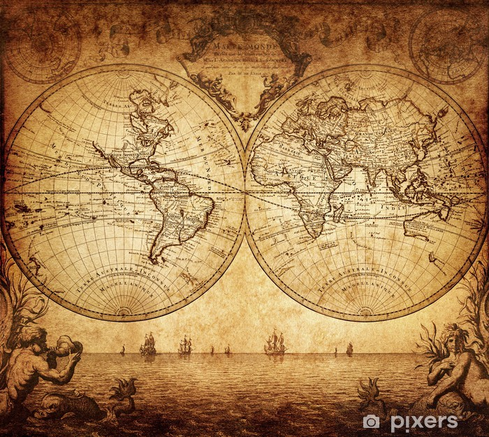 vintage map of the world 1733 Pixerstick Sticker - Themes