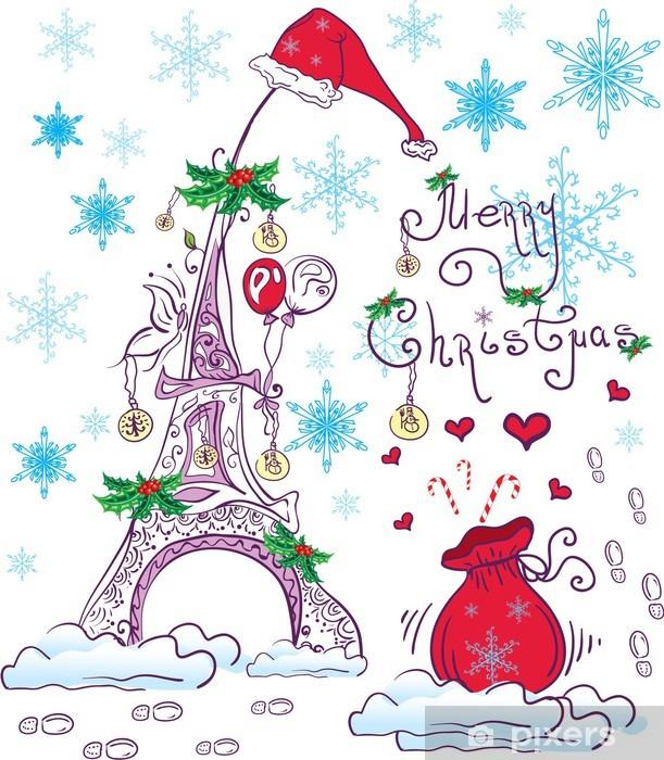 Naklejka Na Szybę I Okno Boże Narodzenie Uroczy Francuski Tło