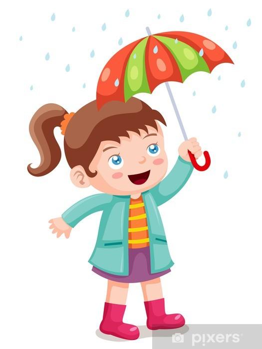 fototapete illustration von mädchen im regen mit