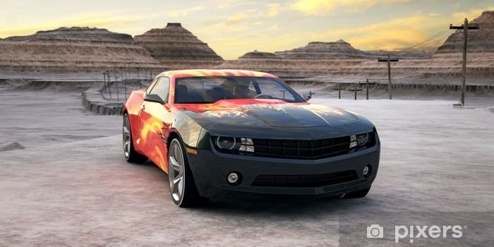 sport car in sunrise desert 3d scene Vinyl Wall Mural - Destinations
