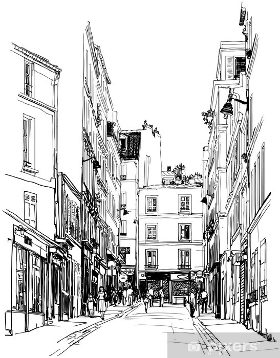 Vinyl-Fototapete Straße nahe Montmartre in Paris - Stile