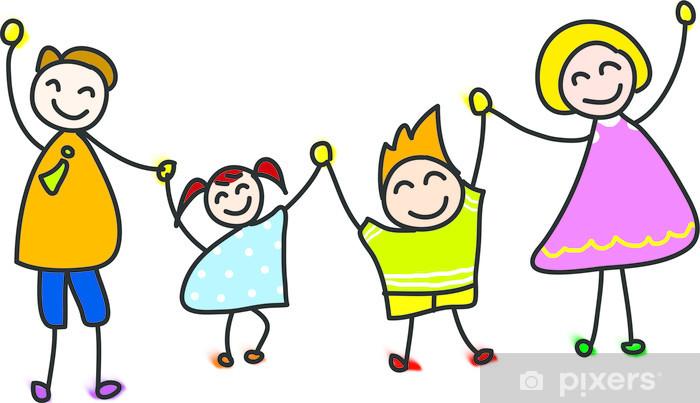 Fotomural Parte De La Familia Feliz Dibujado Dibujos Animados